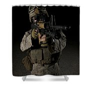 Portrait Of A U.s. Marine Wearing Night Shower Curtain