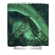 Powerlines And Aurora Borealis Shower Curtain by Arild Heitmann
