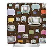 retro TV pattern  Shower Curtain