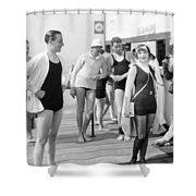 Silent Film Still: Beach Shower Curtain