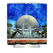 Spaceship Earth And Fountain Of Nations Shower Curtain