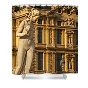 Statue Below Musee Du Louvre Shower Curtain
