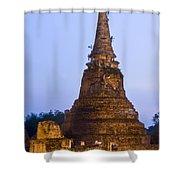 Stupa Chedi Of A Wat In Ayutthaya Thailand Shower Curtain