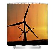 Sun Glare Upon Alberta Windfarm Shower Curtain