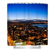 Sunset Over A City Nice Illuminated Shower Curtain