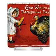 Thanksgiving Card, 1900 Shower Curtain