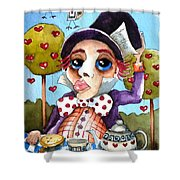 The Mad Hatter Shower Curtain by Lucia Stewart