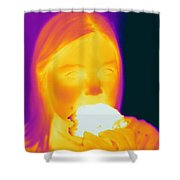 Thermogram Of A Girl Shower Curtain