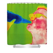 Thermogram Of A Man Drinking Shower Curtain