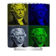 Thomas Jefferson In Quad Colors Shower Curtain