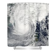 Typhoon Megi Shower Curtain