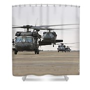 Uh-60 Black Hawks Taxis Shower Curtain
