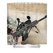 U.s. Army Soldier Fires A Barrett M82a1 Shower Curtain