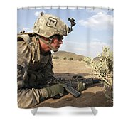 U.s Army Specialist Provides Security Shower Curtain
