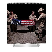 U.s. Marines Fold The American Flag Shower Curtain