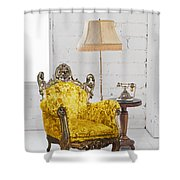 Victorian Sofa In White Room Shower Curtain