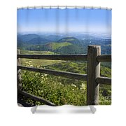 View From Puy De Dome Onto The Volcanic Landscape Of The Chaine Des Puys. Auvergne. France Shower Curtain