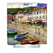 Village On The Lake Front Shower Curtain