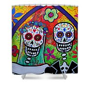 Wedding Dia De Los Muertos Shower Curtain