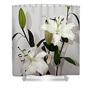 White Lily Spray Shower Curtain