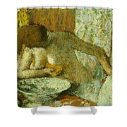 Woman At Her Toilet Shower Curtain