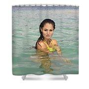 Woman At Kaneohe Sandbar Shower Curtain