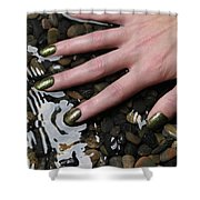 Woman Hand In Water Shower Curtain