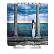 Young Woman As A Classical Woman Of Ancient Egypt Rome Or Greece Shower Curtain