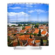 Zemun Rooftops In Belgrade Shower Curtain