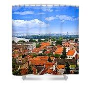 Zemun Rooftops In Belgrade Shower Curtain by Elena Elisseeva