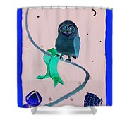 2008 Owl Negative Shower Curtain