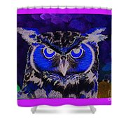 2011 Dreamy Horned Owl Negative Shower Curtain