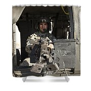 A Uh-60 Black Hawk Door Gunner Manning Shower Curtain