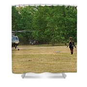 An Agusta A109 Helicopter Shower Curtain by Luc De Jaeger