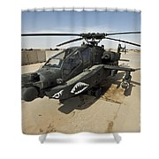 An Ah-64d Apache Helicopter At Cob Shower Curtain