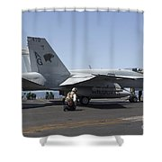 An Fa-18c Hornet During Flight Shower Curtain