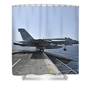 An Fa-18e Super Hornet Launches Shower Curtain by Stocktrek Images