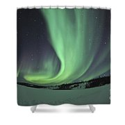 Aurora Borealis Over Prosperous Lake Shower Curtain