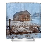 Barn In Winter Shower Curtain