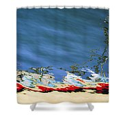 Boat Reflections At Sea Shower Curtain