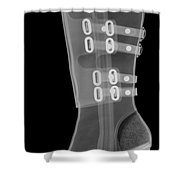 Boot, X-ray Shower Curtain by Ted Kinsman