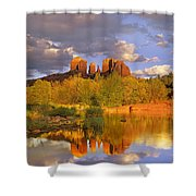 Cathedral Rock Reflected In Oak Creek Shower Curtain