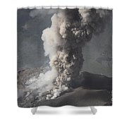 Eruption Of Ash Cloud From Santiaguito Shower Curtain