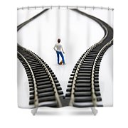 Figurine Between Two Tracks Leading Into Different Directions Symbolic Image For Making Decisions. Shower Curtain