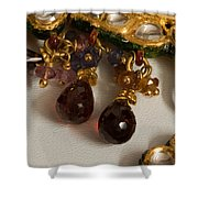 3 Hanging Semi-precious Stones Attached To A Green And Gold Necklace Shower Curtain