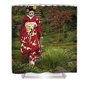 Kimono-clad Geisha In A Park Shower Curtain