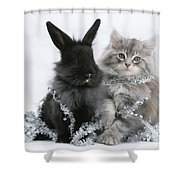 Kitten And Rabbit Getting Into Tinsel Shower Curtain