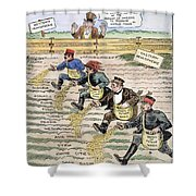 League Of Nations Cartoon Shower Curtain
