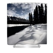 Open Water In Winter Shower Curtain by Mark Duffy