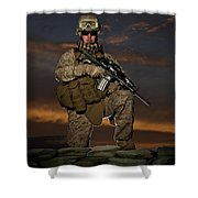 Portrait Of A U.s. Marine In Uniform Shower Curtain by Terry Moore